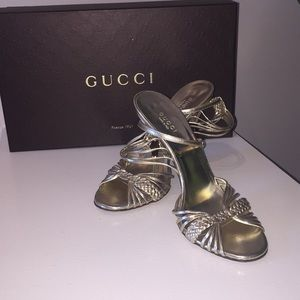 Authentic Gucci- Matte Gold Strappy Sandals